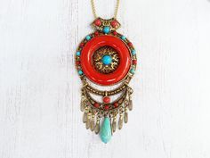 Terrific Tribal Statement Necklace featuring turquoise stone, red coral beads, and an aluminum chain. Beautifully handmade by @accessoriesandother Available at https://www.etsy.com/listing/242596788 #etsy #etsyshop #shop #shopsmall #handmade #jewelry #necklace #tribal #nepalese #red #vintage #pendant #chain #bohemian #boho #turquoise #stone #red #coral #beads #aluminum #gift #fashion #fashionstatement #etsynch #etsyfinds #accessoriesandother #entrepreneur #girlboss