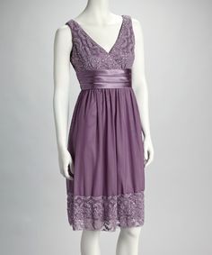 Orchid Sequin Lace Empire-Waist Dress - Women by R Richards on #zulily today!