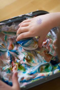 Tie Dye Easter Eggs - Shaving cream with food coloring (or artist inks)