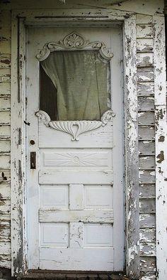white chippy door