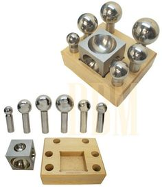 "7 PCS Jeweler Stainless Steel Doming Block Dapping Punch Puncher 1.25"" to 2.50"
