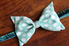 Baby Girl Fabric Bow Headband - Mint Polka Dots - Aqua Glitter Elastic