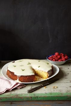 lemon cake and raspberries