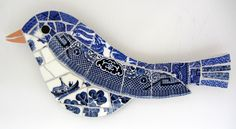 Bluebird mosaic by Katherine at Smashing China Mosaic, based in the Pennines in the West Yorkshire town of Hebden Bridge.
