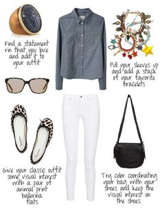how to wear a chambray shirt - don't have long pants, but maybe I can tuck my white capris into high boots
