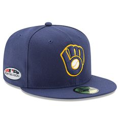 Men s Milwaukee Brewers New Era Navy 2018 Postseason Alternate Side Patch  59FIFTY Fitted Hat e42b953ae23d