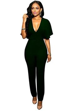 96fba51eb8c Amazon.com  Aro Lora Women s Casual V Neck Long Sleeve Tie Bow Long Wide  Leg Jumpsuit Romper  Clothing