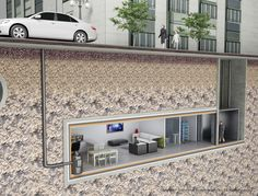 ISSLIMITED Safe RoomUnderground Bunker provides the perfect framework for your prepping plan. Our bunkers are completely underground units that will… Underground Living, Underground Shelter, Underground Homes, Casa Bunker, Bunker Home, Panic Rooms, House In Nature, Safe Room, Hidden Rooms