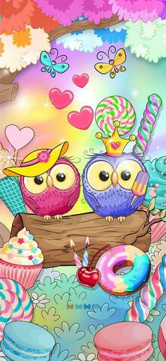Owl Wallpaper, Bling Wallpaper, Flower Phone Wallpaper, Iphone Wallpaper, Pattern Wallpaper, Cute Animal Drawings, Cute Owl, Cute Wallpapers, Pikachu