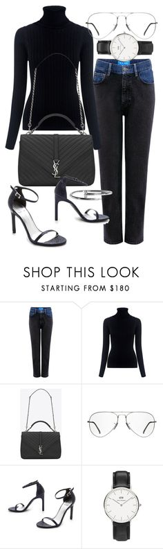 """Untitled #20574"" by florencia95 ❤ liked on Polyvore featuring M.i.h Jeans, Yves Saint Laurent, Ray-Ban, Stuart Weitzman and Daniel Wellington"