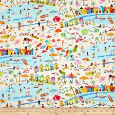 Timeless Treasures Beach Scenic Sand from @fabricdotcom  Designed for Timeless Treasures, this cotton print fabric is perfect for quilting, apparel, and home decor accents. Colors include black, red, orange, yellow, cream, white, shades of blue, shades of pink, shades of brown, and shades of green.