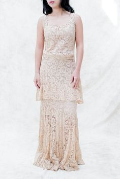 1930s Dusty Pink Lace Gown - XS