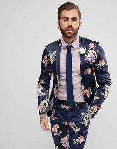 ASOS WEDDING Super Skinny Suit Jacket With Navy Floral Print - Navy