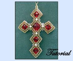 CRAW Beaded Cross Pendant Pattern | Bead-Patterns.com