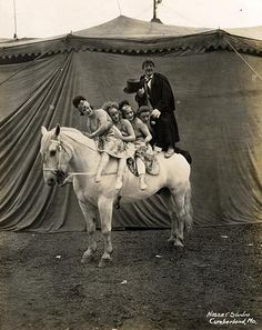 5 on a horse, vintage circus photography
