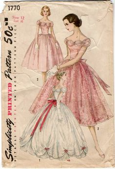 1950s Pattern ~ Divine Full Ball Gown or Tea Length Evening Dress w/ Detachable Overskirt ~ B32 ~Simplicity 1770 ~ Vintage Sewing by VivsVintageSewShop on Etsy