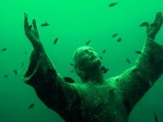 """ Jesus statue underwater "" Posters by Yungpepe Dark Green Aesthetic, Rainbow Aesthetic, Aesthetic Themes, Aesthetic Pictures, Green Aesthetic Tumblr, Aesthetic Collage, Imagenes Dark, Orange Pastel, Slytherin Aesthetic"