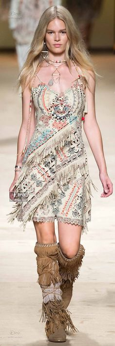 Native American Inspired Fringe Dress & Knee High Moccasins