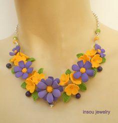 Lilac jewelry  Flower necklace  Anemone  Spring by insoujewelry