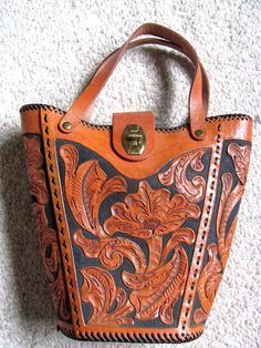 Vintage Tooled Leather Bucket Purse