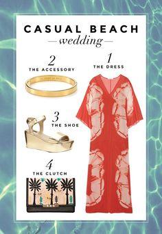 What to Wear to a Beach Wedding: Three Perfect Outfit Ideas // 3. DRESS CODE: CASUAL - Beach Wedding: A flowy caftan, fancy flatform sandals, simple minimalist  accessories, and a summer-y tropical clutch