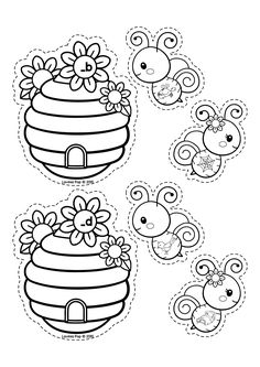 Spring Literacy Centers for Kindergarten B&W. Ending sound sorting activity with bees and hives. Preschool Special Education, Preschool Literacy, Literacy Centers, Kindergarten, Autism Activities, Sorting Activities, Bee Gender Reveal, Skull Coloring Pages, Jelly Roll Quilt Patterns