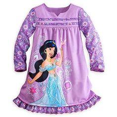 a20c7fcd5a Amazon.com  Disney Store Jasmine Aladdin Long Sleeve Nightshirt Nightgown  for Girls