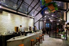 Image 12 of 29 from gallery of Brewman Coffee Concept / 85 Design. Photograph by To Huu Dung Small Coffee Shop, Concrete Interiors, Café Bar, Construction Process, Cafe Restaurant, Restaurant Ideas, Coffee Branding, Design Process, Concept