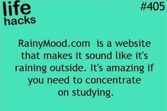 Welcome to Rainy Mood, the internet's most popular rain sounds. Millions of people use Rainy Mood while sleeping, studying, and relaxing. Simple Life Hacks, Useful Life Hacks, The More You Know, Good To Know, Rainy Mood, 1000 Life Hacks, School Study Tips, Pokemon, School Hacks