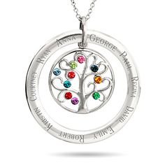 Add 10 birthstones to this family tree necklace! The 10 stone family tree necklace can be engraved with 10 names.
