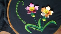 Hand embroidery designs. Hand embroidery stitches tutorial.flower stitch.