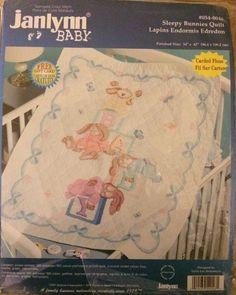 Sleepy Bunnies Quilt Cross Stitch Kit Stamped Baby Nursery New 34 x 43 Janlynn | eBay