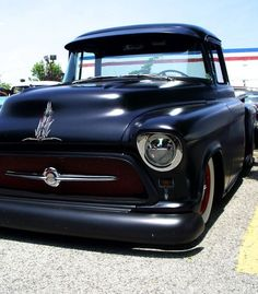 Black truck with custom pinstripe   beautiful ride