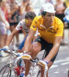 Miguel Indurain Larraya is a retired Spanish road racing cyclist, won five consecutive Tours de France from 1991 to 1995, the fourth, and last, to win five times.[2] He won the Giro d'Italia twice, becoming one of seven people to achieve the Giro-Tour double in the same season. He wore the race leader's yellow jersey in the Tour de France for 60 days