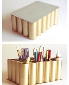 Up cycle- toilet paper towel roll idea: desk organizer - DIY Desk Ideen Paper Towel Roll Crafts, Paper Towel Rolls, Toilet Paper Roll Crafts, Cardboard Crafts, Toilet Paper Rolls, Towel Crafts, Yarn Crafts, Diy Paper, Desk Organization Diy