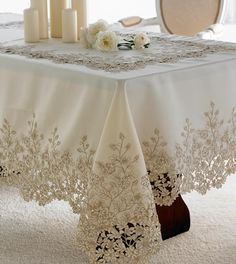 Ecru tablecloth