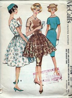 Vintage 1959 Dress with Pleated Full Overskirt Pattern V Back Sheath Slim or Full Skirt 1950s McCalls 5108 Bust 36