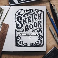 Lettering by Ilham Herry Sketchbook Layout, Gcse Art Sketchbook, Sketchbook Cover, Architecture Sketchbook, Sketchbook Inspiration, Sketchbook Ideas, Book Cover Page, Cover Pages, Illustrations