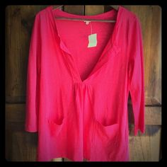 NWT J. Crew tunic Super soft tunic of beautiful persimmon color slub cotton. 3/4 sleeves. Pictures appear to be hot pink but color is actually more reddish. J. Crew Tops Tunics