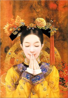The Ancient Chinese Beauty by Der Jen - Der Jen's Art Painting - The Beauties in Qing Dynasty 11 Chinese Painting, Chinese Art, Costume Chinoise, Art Chinois, Art Asiatique, Portraits, Asian Style, Asian Art, Japanese Art
