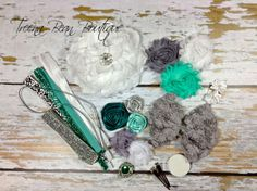 35% OFF!! DIY Couture Headband Kit..... Mint, Grey, and White...Baby Shower Game...Headband Kit...DIY Headbands...Baby Headbands