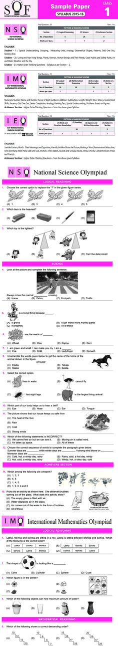 Maths Olympiad For Class 1 Sample Paper Pdf