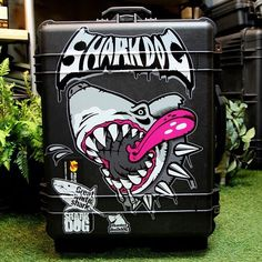 Shark dog Surf pelican suitcase sticker design. Designed by DOLDOL.  #Snowboard #skateboard #suitcase #longboard #surf #서프 #불독 #dog #t #mtb  #스노우보드 #롱보드 #bike #sharkdog #샤크독 #bag #pelican #graffiti #로고 #서핑 #돌돌디자인 #여행가방 #캐릭터 #shark #surfing #캐리어 #슈트케이스 #extreme #mtb #캠핑가방 #car #camp