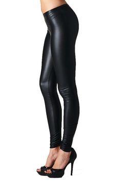Leather look leggings brown