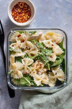 This Cold Chicken Spinach Pasta Salad is the perfect easy cold meal prep idea or a dish for a potluck!