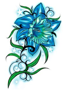 Future Tattoo with name.December flower and turquoise! Daffodil Tattoo Design by on deviantART Blue Orchid Tattoo, Blue Flower Tattoos, Birth Flower Tattoos, Tattoo Flowers, Narcissus Flower Tattoos, Daffodil Tattoo, Free Tattoo Designs, Flower Tattoo Designs, Larkspur Tattoo