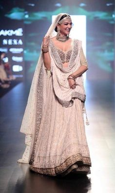 Sushmita Sen is a vision in 'house of Kotwara' design at Lakme Fashion Week 2018 Indian Bridal Outfits, Indian Bridal Lehenga, Indian Bridal Fashion, Indian Designer Outfits, Indian Dresses, Bridal Dresses, Indian Clothes, Lakme Fashion Week, India Fashion