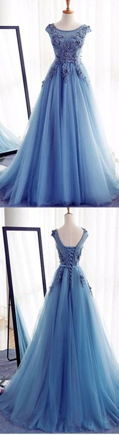 Elegant Long A-line Blue Appliques Cap Sleeve Lace Up Back For Teens Formal Prom Dresses. DB0061