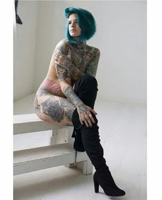 Heidi Lavon (@ heidilavon) Thigh Highs, Girl Tattoos, Tatting, Eye Candy, Sexy Women, Punk, Poses, Female, Body Parts
