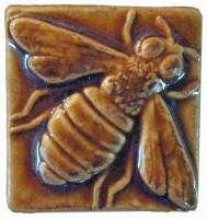 Honey Bee 2x2 Ceramic Handmade Tile Honey Glaze